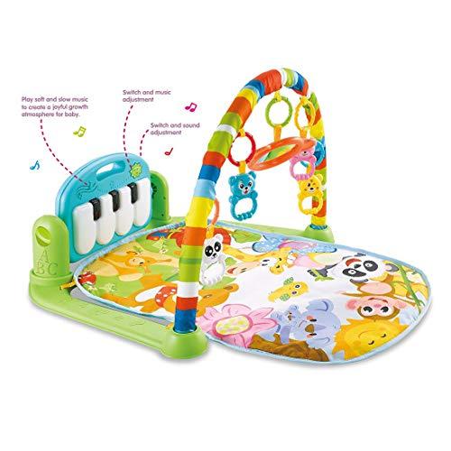 bebé Gimnasios Piano Infantiles, Bebé Manta de Juego con Luces y Melodías Gimnasio de Juegos para Bebés Recién Nacidos 0 hasta 2 años