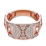 Gnzoe Schmuck Edelstahl Ring Damen Ringe Kristall Uhrarmband Form Solitärring Antragsringe Rose Gold mit Zirkonia Gr.62 (19.7)