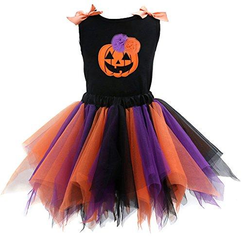 Scothen Baby Mädchen Bekleidungsset Outfits Kürbis Halloween Kostüm Prinzessin Kinder Rock Haken Blume Schleppkleid Mädchen Kleid Maedchen Hochzeit Party Kleid Fasching Kostüm (Hexe Kostüme Tutu)