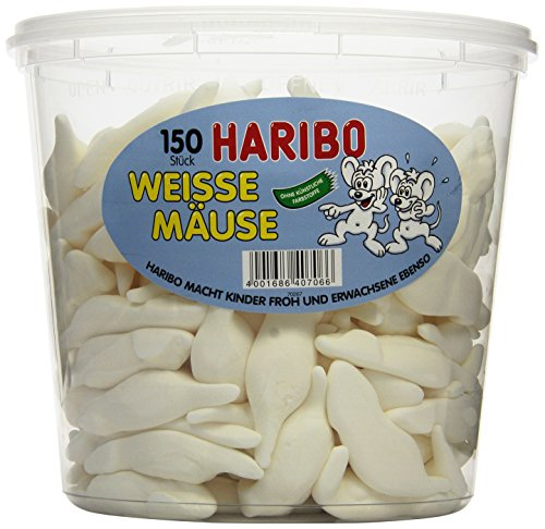 Lebensmittel Halloween Kostüme (Haribo Weisse Mäuse, 1er Pack (1 x 1.05 kg)