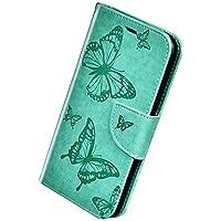 Herbests Compatible con Samsung Galaxy A50 Funda, Flip Case Funda con Tapa Estuche de Cuero Cartera en Relieve Mariposa con Cierre Magnético Soporte Plegable Color Puro Cover,Verde