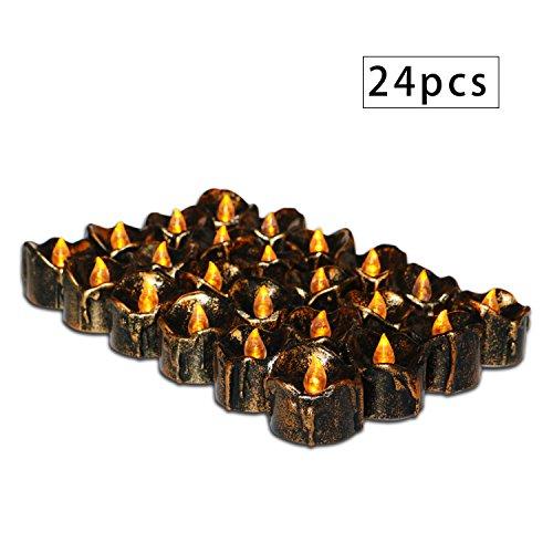 er, batteriebetrieben, für Weihnachten, Halloween, Abendessen Klassisch 24pcs Black Drop Tear-flicker ()