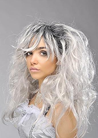 Womens Long grau gotischen Geist Braut Perücke (Graue Geist Kostüm)