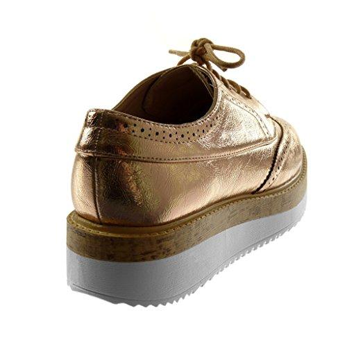 Scarpe Da Donna Angkorly Scarpe Derby - Platform Shoes - Perforate - Lucide - Tacco Alto In Legno Tacco 4 Cm Champagne