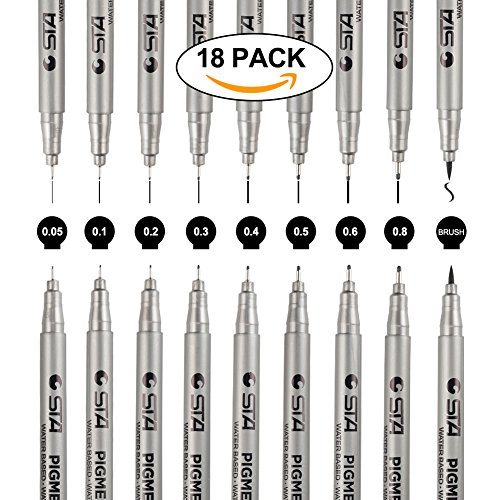Fineliner Stifte, Satz von 18 schwarzen Pigment Liner Micro-Pen Fineliner Tintenschreiber, Pinsel &...