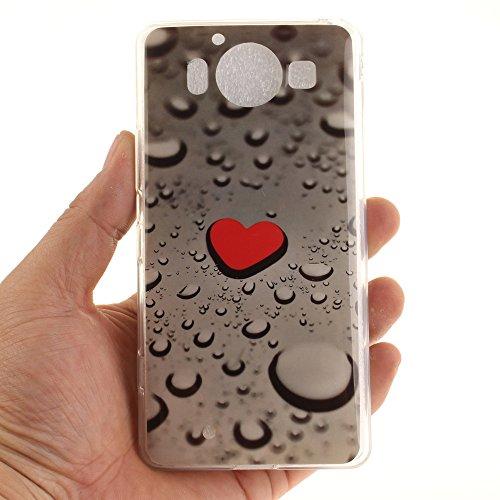Microsoft Lumia 950 hülle,MCHSHOP Ultra Slim Skin Gel TPU hülle weiche Silicone Silikon Schutzhülle Case für Microsoft Nokia Lumia 950 - 1 Kostenlose Stylus (Löwenzahn verliebt sich) Red Heart und Water Drop