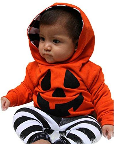 üm Baby Jungen Mädchen Neugeborenen Bodysuit Halloween Costume Kapuzenbluse + Streifen Hose Outfit (6-12 monate, Orange) (10 Brief Halloween-wort)