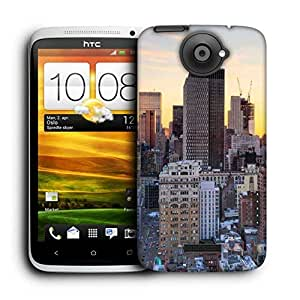 Snoogg Brown Building Printed Protective Phone Back Case Cover For HTC One X