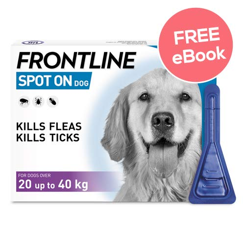 Frontline Spot On For Large Dogs – 3 Pipettes – INCLUDES EXCLUSIVE PETWELL® FLEA AND TICK E BOOK