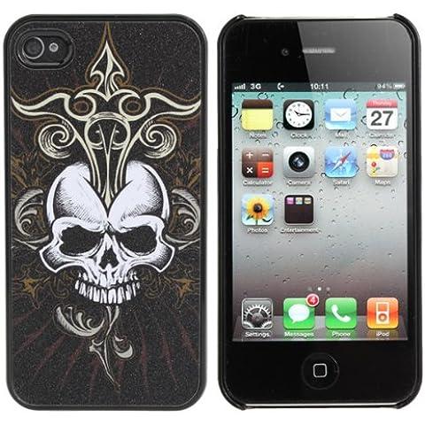 Diseño Cabeza Frosted Scrub Skeleton Caso Negro de hueso para el iPhone 4 4S.