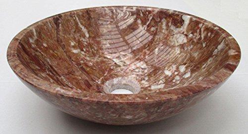 Bol rond rouge en marbre pierre salle de bain lavabo 400 mm Diamètre (b0066)