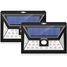 24 LEDs Foco Solar Mpow con Sensor de Angulo Ancho, Focos LED Exterior Protección Ambiental y Ahorra de Energía,Luz Solar Impermeable al Aire Libre con 3 Modos de Luces Inteligentes para Jardín Exterior Casa Camino Escaleras Pared,Solar Luz Jardin 2 Unidades