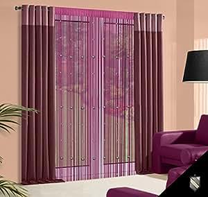 140 x 245 Cm violet/prune/mauve spaghetti rideau à galon fronceur gewürze rideau de perles de corail rideaux voilage de fenêtre violet purple lilac corail