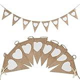 JUNGEN Banderole Drapeau Triangle Amour Burlap Banderoles Decoration bannière de Décoration de Mariage Fanion Fête Bannière Banderole Décoration en Jute Vintage 1PCS (B-1.6m*11 * 13cm)