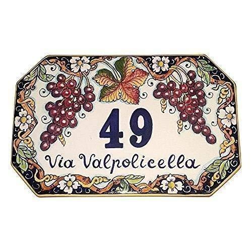 CERAMICHE D'ARTE PARRINI- Künstlerische italienische Keramik Keramik Hausnummer 30x20 individuelle Dekoration Trauben und Blumen , Fliesen handgemacht in Italien Toscana - Trauben-keramik-fliese