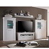 Pharao24 TV Anbauwand in Weiß skandinavischer Landhausstil LED Beleuchtung Energieeffizienzklasse LED