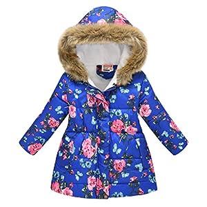 Amlaiworld Chaqueta de Plumas para niñas, Baby Kid Girls Collar de Piel Floral Chaqueta de Felpa Gruesa de sección Larga Abrigo Parkas con Capucha Abrigo a Prueba de Viento Outwear 9