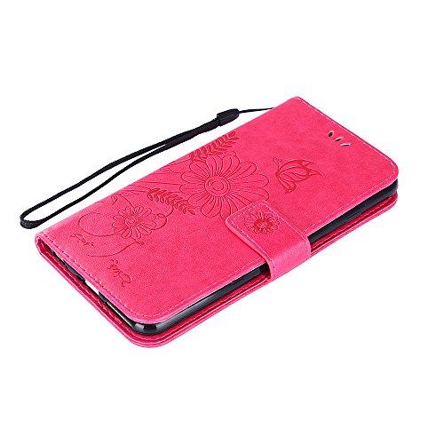 Custodia per iPhone 6 6S Plus Cover Pelle,SKYXD Colorata Fiore Formica Disegni 3D Morbida Flip Libro PU Pelle Portafoglio Custodia Case per iPhone 6S/6 Plus Guscio Protettivo Coperture Antiurto 360 Pr Rosa Rosso
