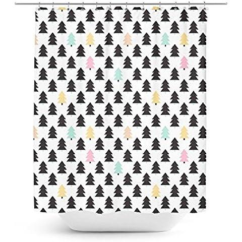 Árboles de Pino geométrico–Cortina de ducha (Pastel único en 4tamaños para cualquier cuarto de baño, Blanco, 36x72 Stall