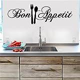 DAY8 Stickers Muraux Cuisine Dicton Phrase Stickers Muraux Citations Papiers Peints Salon Pas Cher (Noir)