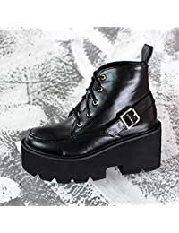 8ccdd1a89c0 Shukun Botines Botas Martin Retro de otoño e Invierno Botas Cortas con  Suela Gruesa Zapatillas de