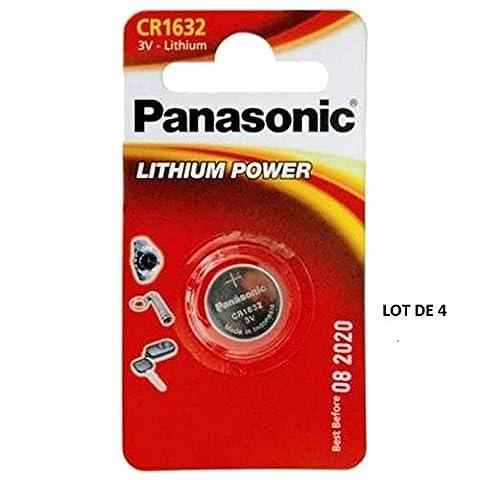 Panasonic CR1632 1632 3V Lithium Battery Pack of 4