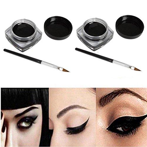 Eyeliner, Kolylong 2 PCS Mini Eyeliner Gel crème avec la brosse de maquillage cosmétique noir vie Waterproof Eye Liner
