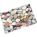 YIWAN Rutschfeste Badematte, waschbar, weich, super saugfähig, geeignet für Innen, Bad, Küche, Wohnzimmer, Schlafzimmer, Fußmatten, große Steine, farbige Steine   60 * 90cm