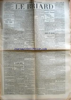BRIARD (LE) [No 98] du 18/12/1907 - LES MYSTERES DE PARIS PAR EUGENE SUE - PREFETS D'EGLISE PAR EMILE CHAUVIN - ENTRETIEN D'EGLISES - LA PETITE CULTURE ET LES GROSSES LAITERIES CAPITALISTES - A LA COMMISSION SENATORIALE DE L'ARMEE - MM. DE FREYCINET ET MEZIERES DEMISSIONNENT - CHRONIQUE BRIARDE - LE SYNDICAT MAROCAIN PAR GEROME - CHEMIN DE FER DE L'EST - AVIS - SEINE-ET-MARNE - LA TACTIQUE DE LA REACTION EN SEINE-ET-MARNE - LE BRIARD ILLUSTRE.