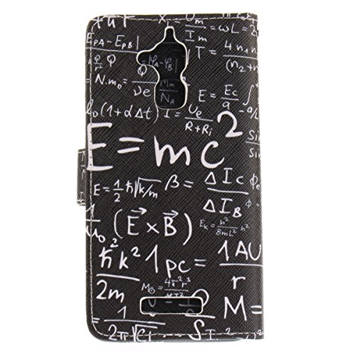 Custodia per Zenfone 3 MAX ZC520TL, ISAKEN Accessories Cover Per Asus Zenfone 3 MAX ZC520TL PU Pelle Portafoglio Custodia, Elegante borsa Drawing Pattern Design in Sintetica Ecopelle Libro Bookstyle W Matematica
