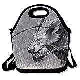 Bolsa de almuerzo para hombre, impermeable, diseño de lobo de animales