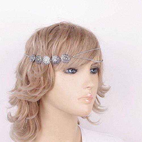 Bandeau Chaîne Bohème Bijoux de Cheveux - Argent Antique