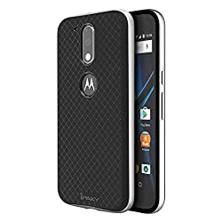 Original Ipaky Brand Luxury High Quality Silicon Black Back + PC Silver Bumper Frame Shockproof Back Cover for Motorola Moto G4 Plus/ Moto G4 (4th Gen)