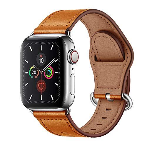 Arktis Armband [echtes Leder] kompatibel mit Apple Watch (Series 1, Series 2, Series 3 mit 38 mm) (Series 4, Series 5 mit 40 mm) Lederarmband mit Edelstahl Dornschließe und Adapter - Cognac Braun