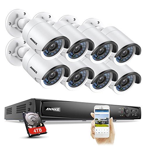 ANNKE Überwachungskamera Set/8CH 4.0MP PoE NVR mit 8 * 4Megapixel 2688 * 1520P Bullet Outdoor Kamera/Nachtsicht Bewegungserkennung Überwachungssystem/Mit 4TB Festplatte (Video Samsung Security Systeme)
