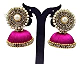 Handi Crafts Pink Silk Thread Jhumki Ear...