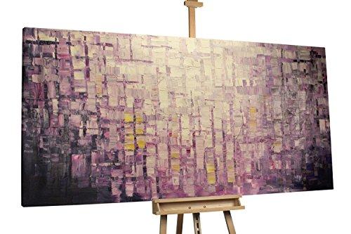 'Purple Panels' 200x100cm | Deko Abstrakt Lila Kacheln | Modernes Kunst Ölbild