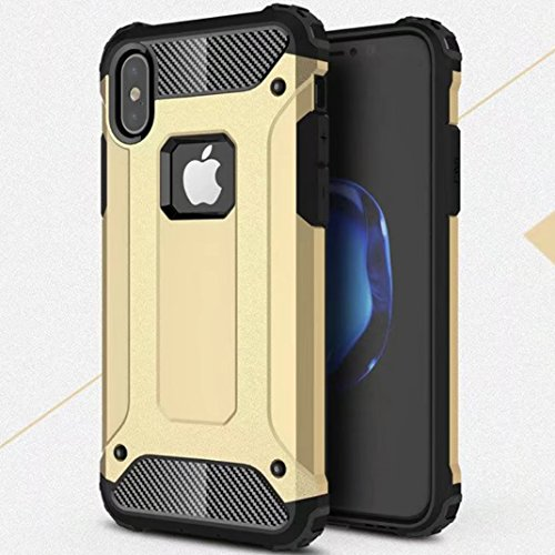 iPhone X Shell, Super Cool Shield UltraSlim Premium Dual Layer Hybrid Shockproof Armour Custodia, TAITOU New Awesome Outdoor Sport Anti Scratch Armor Protection Phone Cover For Apple iPhone X Blue BGold