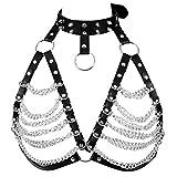 Damen Harness Bra ärmelloser BH Leder Top Punk Gothic Brust Gürtel Hüftgurt für Metallkette (Schwarz) - Damen