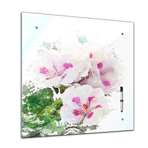 Memoboard mit Winter SALE 40 x 40 cm, Aquarelle, 'Hibiskus' Glasboard Glastafel Magnettafel Memotafel Pinnwand Schreibtafel - Natur - Blumenbild - Wasserfarbe - Blüte - bunt - Hawaii - Hibiskusblüte - Wohnzimmer - Schlafzimmer - Küche - Bild auf Glas - Glasbild - Handmade - Design - Art