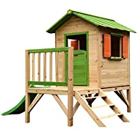 Chestnut Wooden Painted Tower Playhouse with Slide - Easy Assembly Childrens Play House 7 x 6 feet