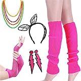 80er Jahre Kostüm Zubehör - Damen 80er Party kostüm Zubehör Kunststoff Neon Halsketten Stirnband Beinlinge Perlen Halsketten und Armbänder Fischnetz Handschuhe für Mädchen Frauen Night Out Party (Rosa Set 2)