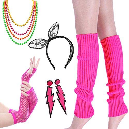 80er Jahre Kostüm Zubehör - Damen 80er Party kostüm Zubehör Kunststoff Neon Halsketten Stirnband...