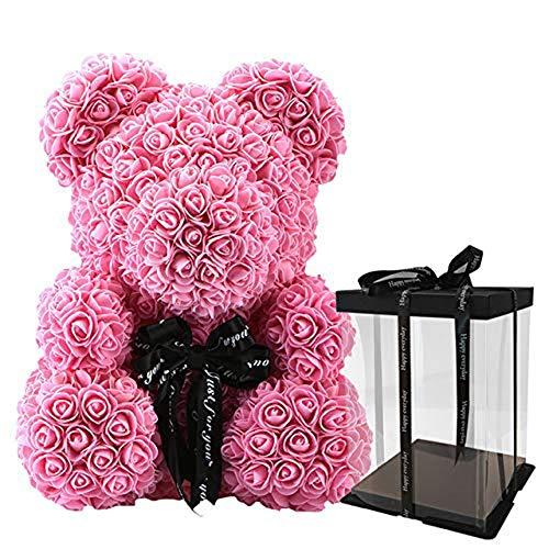 0eae9e5891 WJHW Luxe Rose Teddy Bear Rose Fleur Décoration Artificielle Cadeaux De  Noël pour Les Femmes Valentines