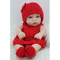 NPKDOLL Renacer De La Muñeca Del Silicón Duro De Vinilo De 11 Pulgadas De 28 Centímetro A Prueba De Agua De Juguete De La Muchacha Sombrero Vestido Rojo Regalo Reborn Doll A1ES