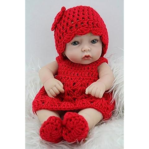 NPKDOLL Renacer De La Muñeca Del Silicón Duro De Vinilo De 11 Pulgadas De 28 Centímetro A Prueba De Agua De Juguete De La Muchacha Sombrero Vestido Rojo Regalo Reborn Doll