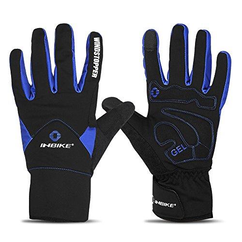 INBIKE Winterhandschuhe Herren Damen Gel Touchscreen Warm Winddicht und Wasserdicht Winter Handschuhe Für Downhill Radfahren und Skilaufen(Blau XL)