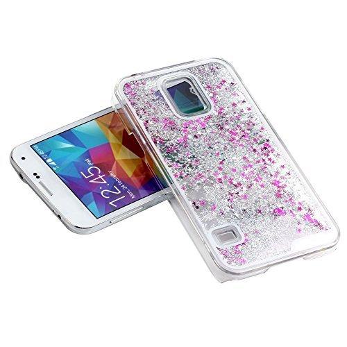 Samsung S5case-aurora 5D Quicksand transparent Kunststoff Slim Bling Glitzer Star Flüssigkeit Hard Case Cover für Samsung Galaxy S5I9600 silber Diamond Bling Hard Case