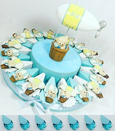 Torta bomboniera portaconfetti battesimo nascita maschietto con confetti crispo kkk (torta magnete mongolfiera)