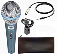 VRCT Beta-58A Dynamic Vocal Karaoke Microphone with 3.5MM 58A Singing Mic, Zipper Pouch and Connector Wire Jack (Black, Silver)